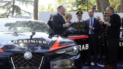 Foto Fabio Cimaglia / LaPresse 05-05-2016 Roma Politica Consegna di nuovi modelli Alfa Romeo all'Arma dei Carabinieri Nella foto Roberta Pinotti, Angelino Alfano, Sergio Marchionne Photo Fabio Cimaglia / LaPresse 05-05-2016 Rome (Italy) Politic Delivery of new models Alfa Romeo to the CarabinieriIn the pic Roberta Pinotti, Angelino Alfano, Sergio Marchionne